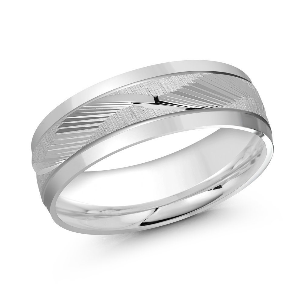 White Gold Men's Ring Size 7mm (LUX-166-7W)