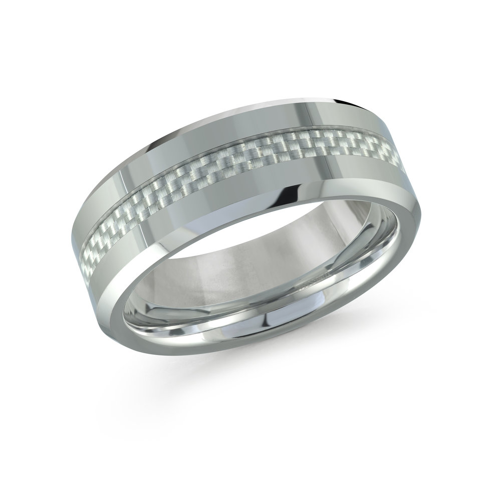 White Gold Men's Ring Size 8mm (TG-007)