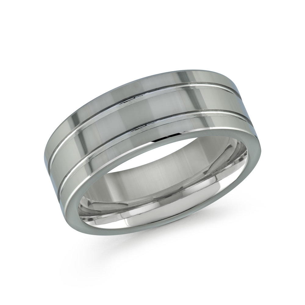 White Gold Men's Ring Size 8mm (TG-008)