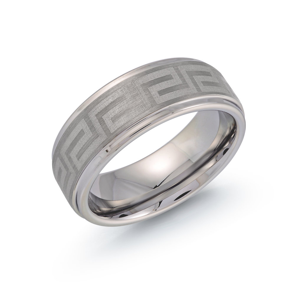 White Gold Men's Ring Size 8mm (TG-023)