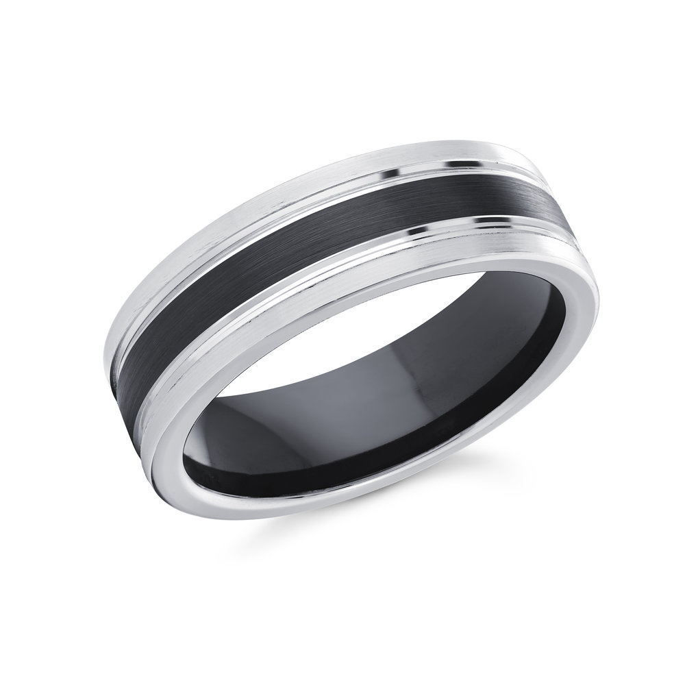 White/Black Gold Men's Ring Size 7mm (CB-017)