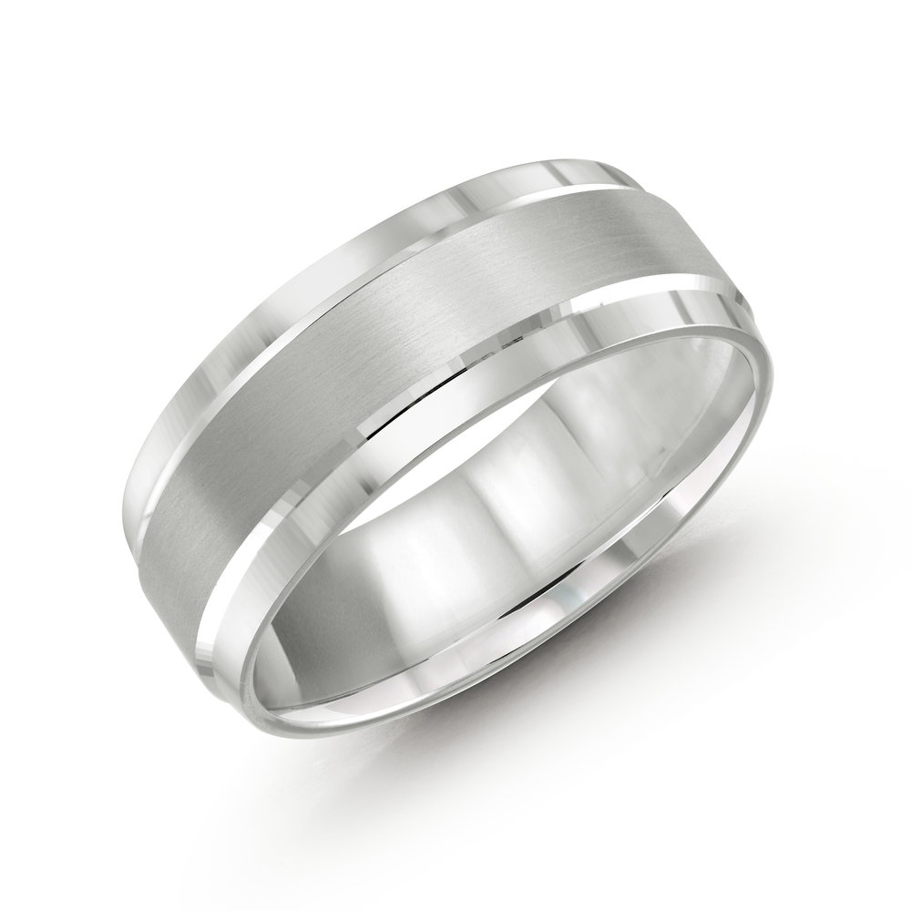 White Gold Men's Ring Size 8mm (CB-418-8W)
