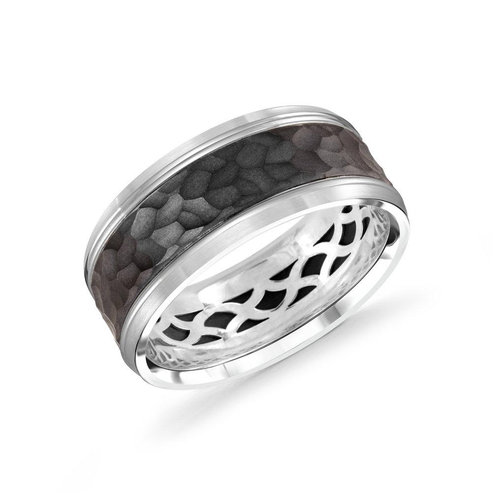 White Gold Men's Ring Size 9mm (MRDA-040-9W)
