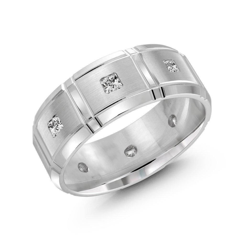 White Gold Men's Ring Size 8mm (FJMD-014-8W40)
