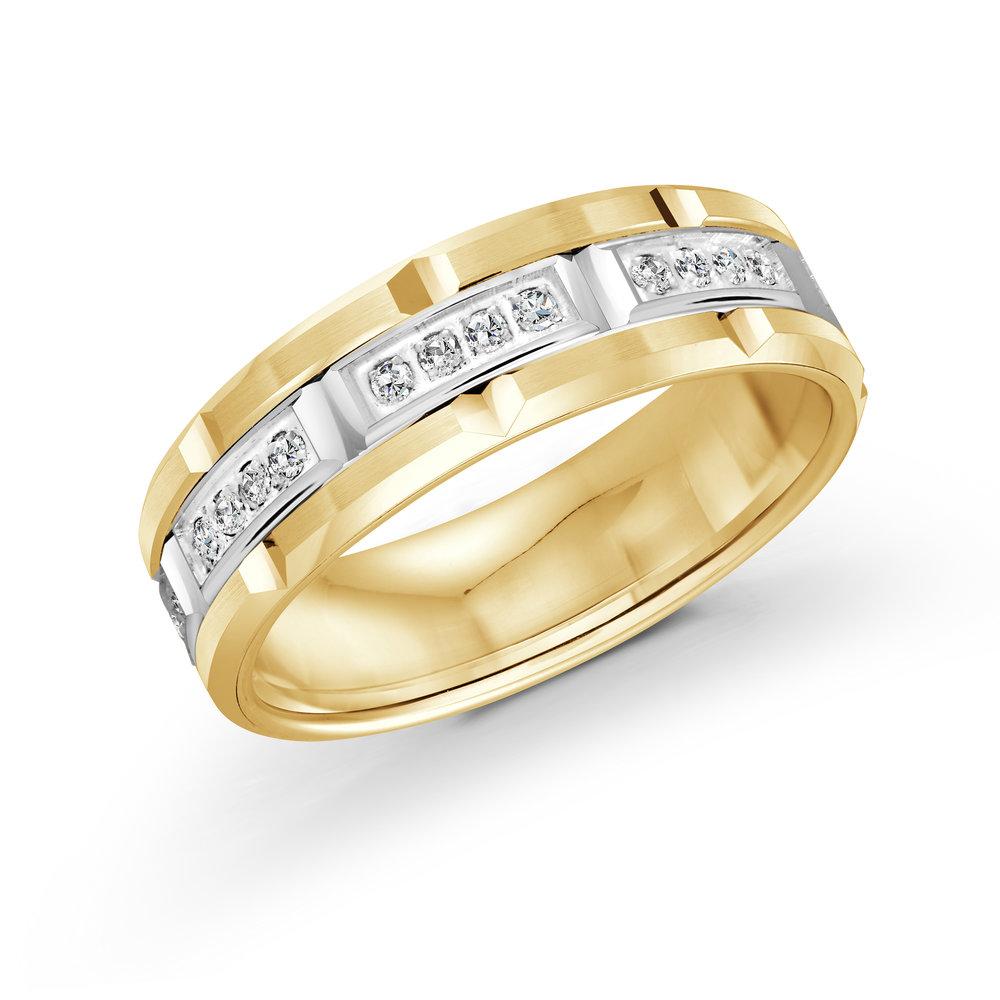 Yellow/White Gold Men's Ring Size 7mm (FJMD-073-7YW32)