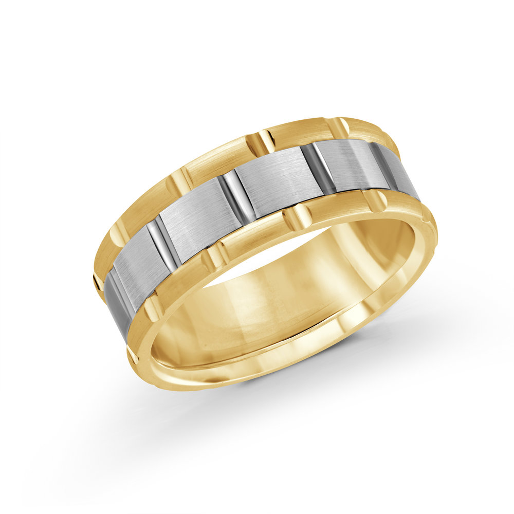 Yellow/White Gold Men's Ring Size 8mm (MRD-044-8YW)