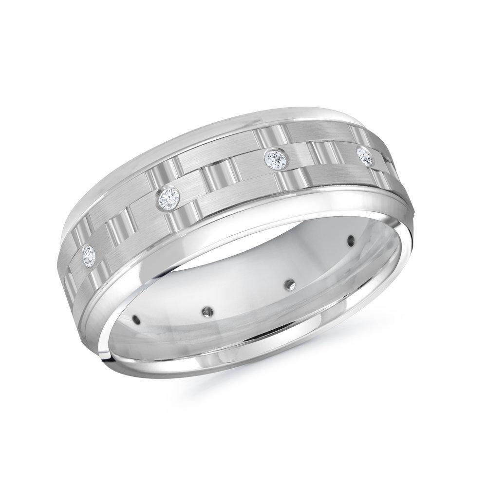 White Gold Men's Ring Size 8mm (MRD-086-8W15)