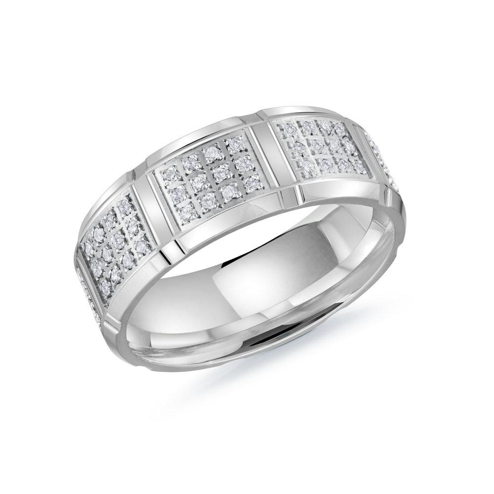 White Gold Men's Ring Size 8mm (MRD-111-8W48)