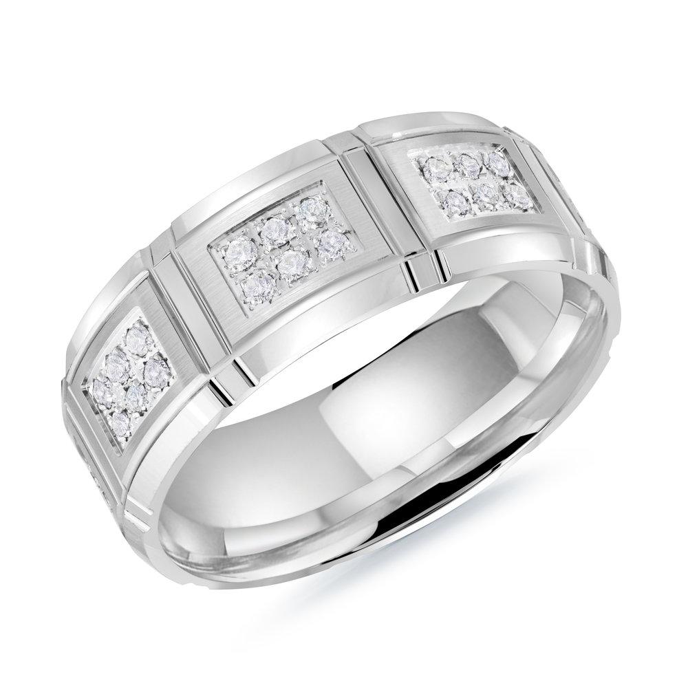 White Gold Men's Ring Size 8mm (MRD-113-8W34)