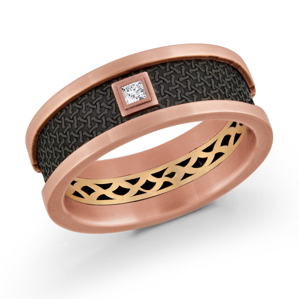 Pink/Yellow Gold Men's Ring Size 8mm (MRDA-006-8PZY5)
