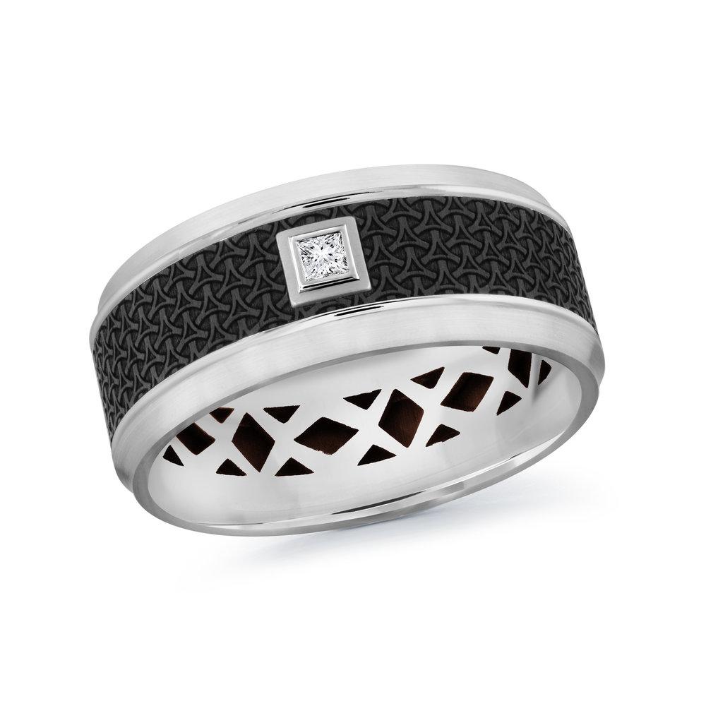 White Gold Men's Ring Size 9mm (MRDA-022-9W5)