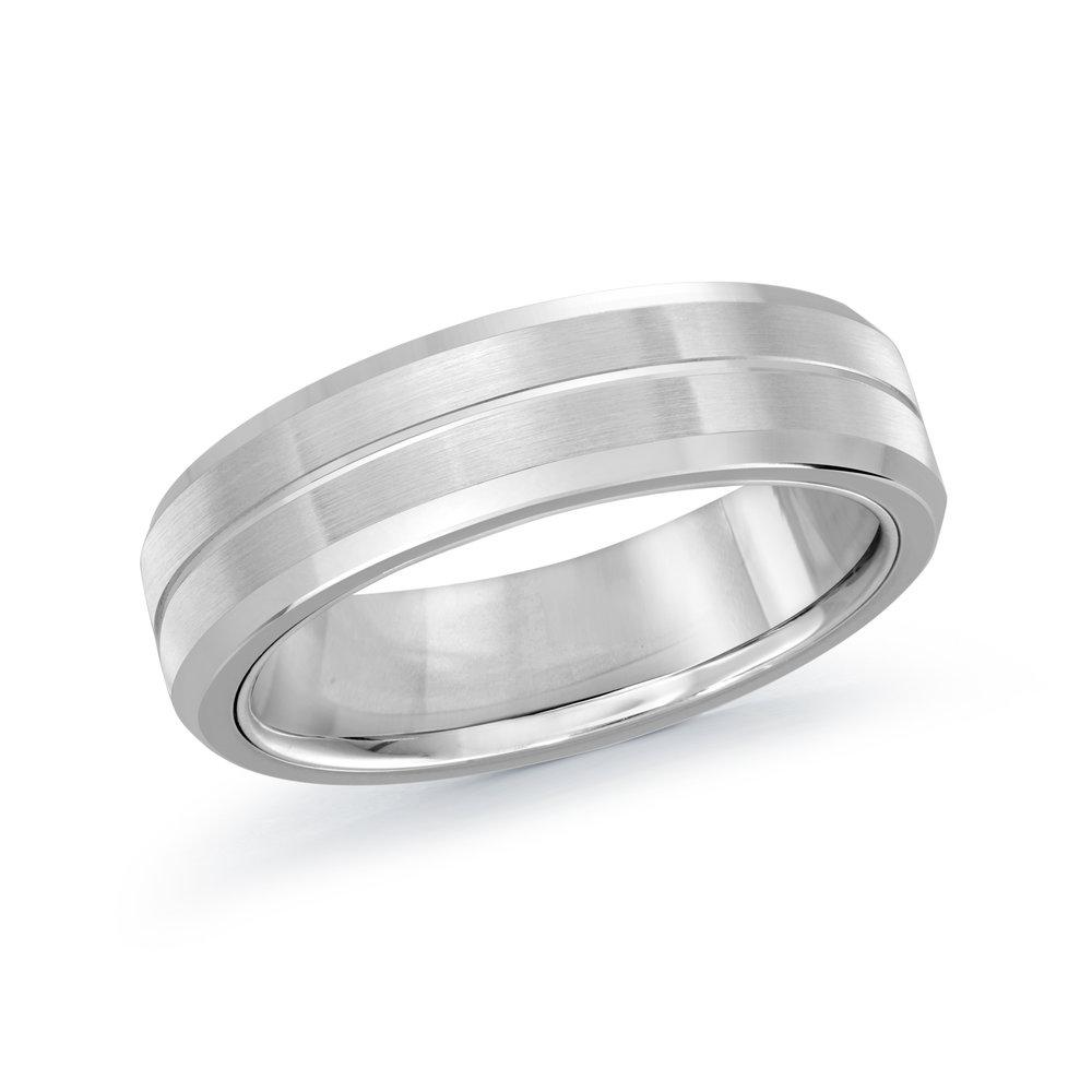 White Gold Men's Ring Size 6mm (MRD-096-6W)