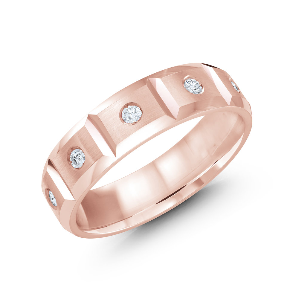 Pink Gold Men's Ring Size 6mm (JMD-388-6P30)
