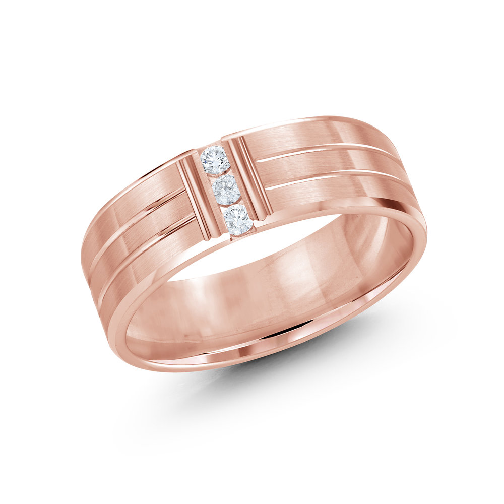 Pink Gold Men's Ring Size 7mm (JMD-500-7P10)