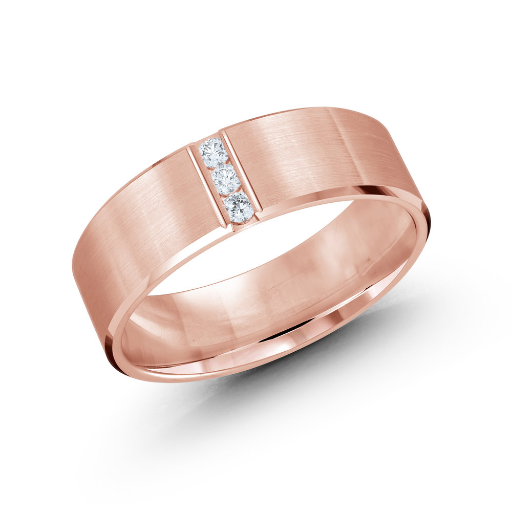 Pink Gold Men's Ring Size 7mm (JMD-509-7P10)