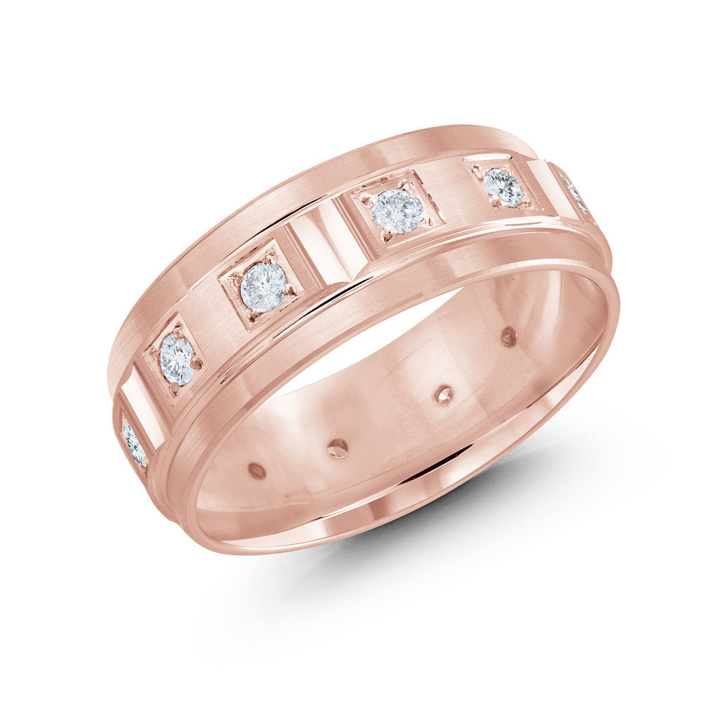 Pink Gold Men's Ring Size 8mm (JMD-826-8P50)