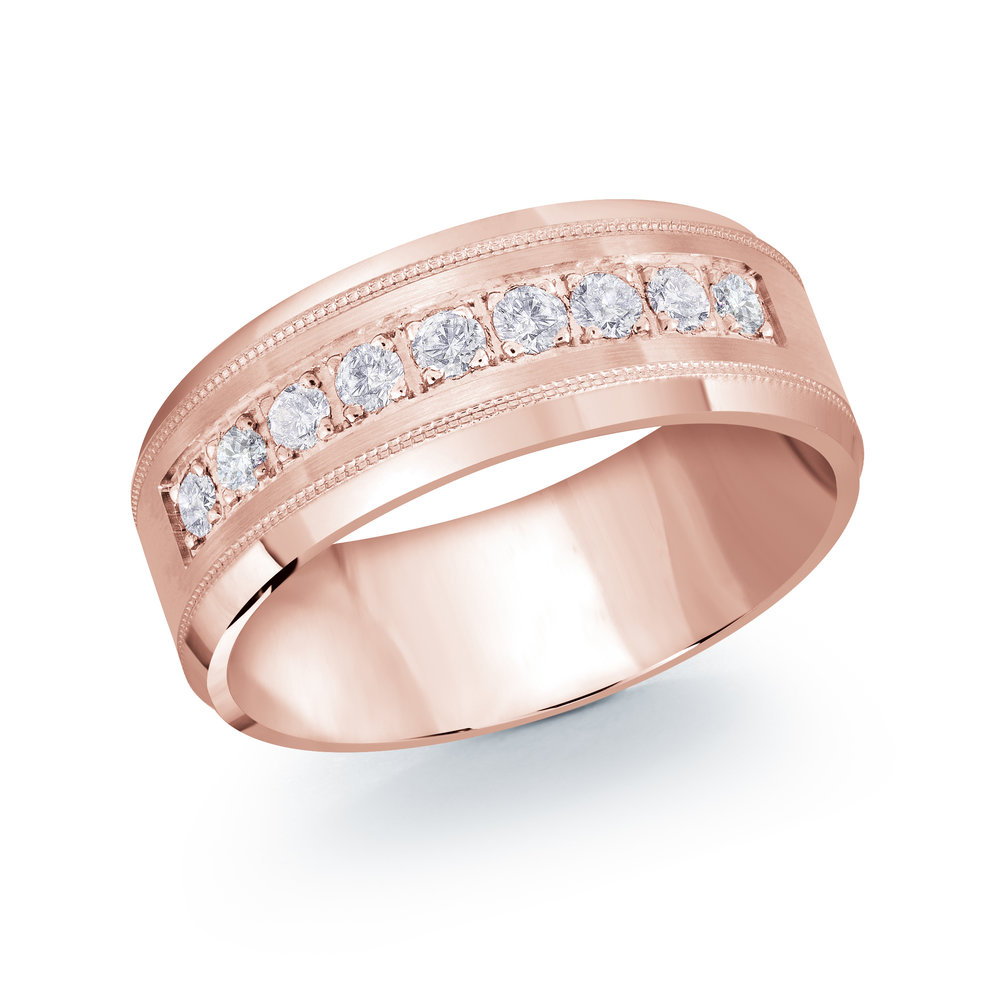 Pink Gold Men's Ring Size 8mm (JMD-1095-8P45)