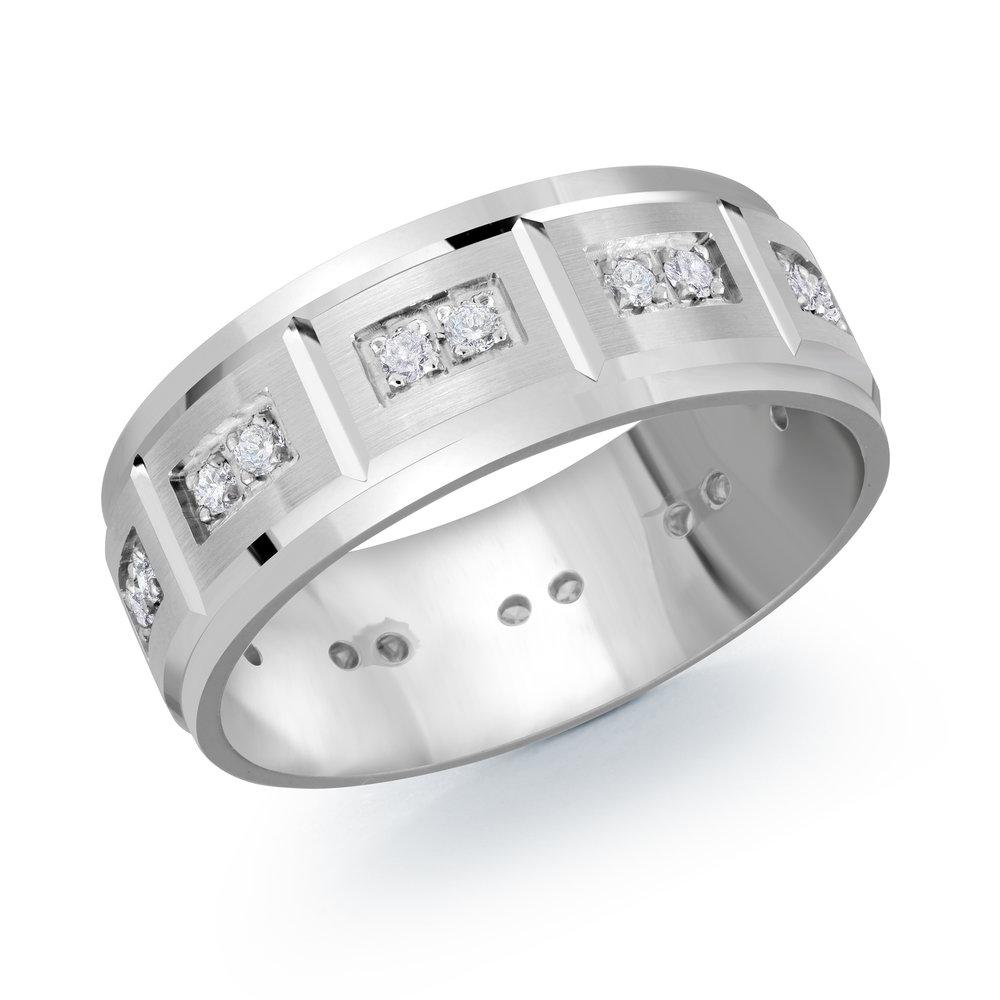 White Gold Men's Ring Size 8mm (JMD-1102-8W30)