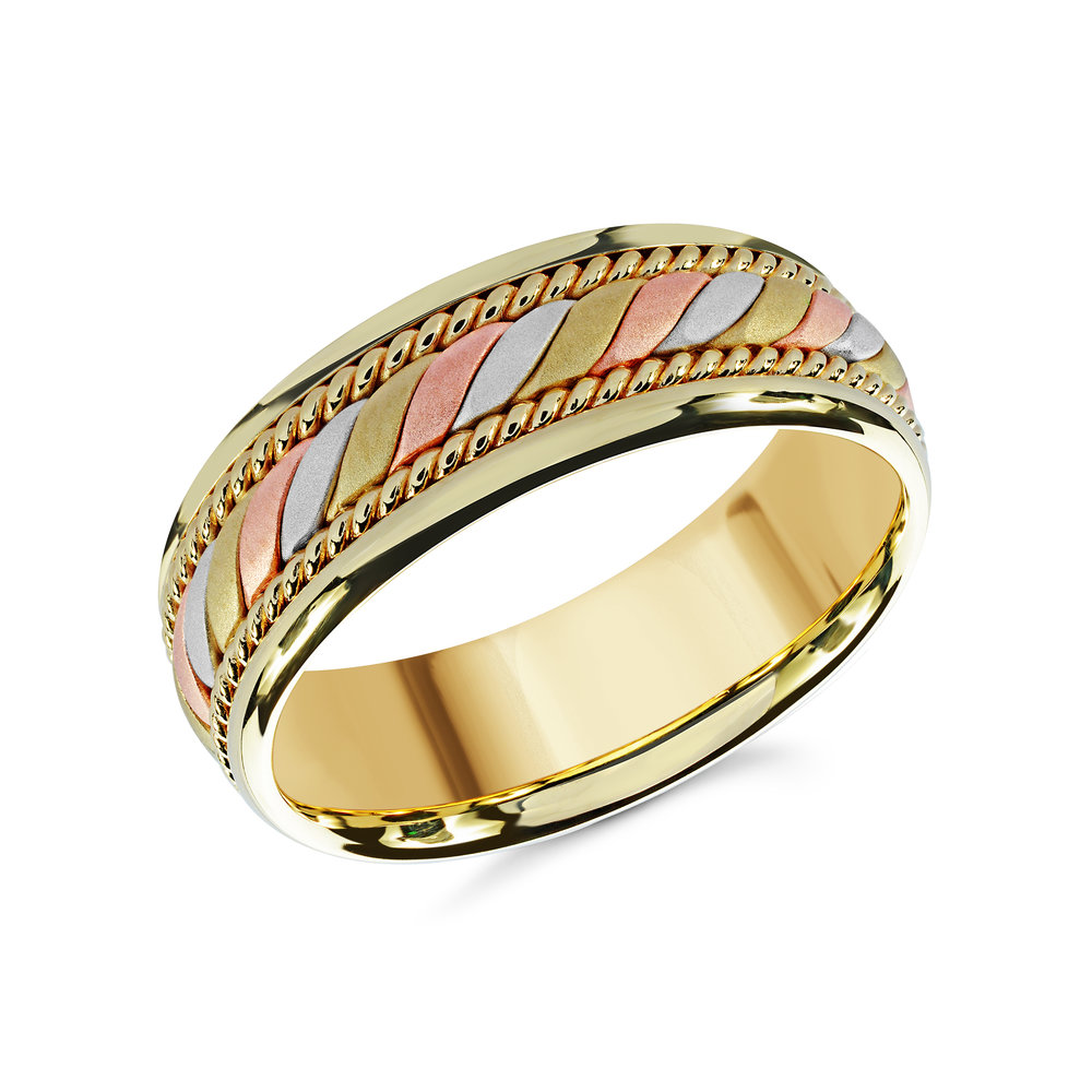 Tri-Color Gold Men's Ring Size 8mm (MRD-070-8YYT)