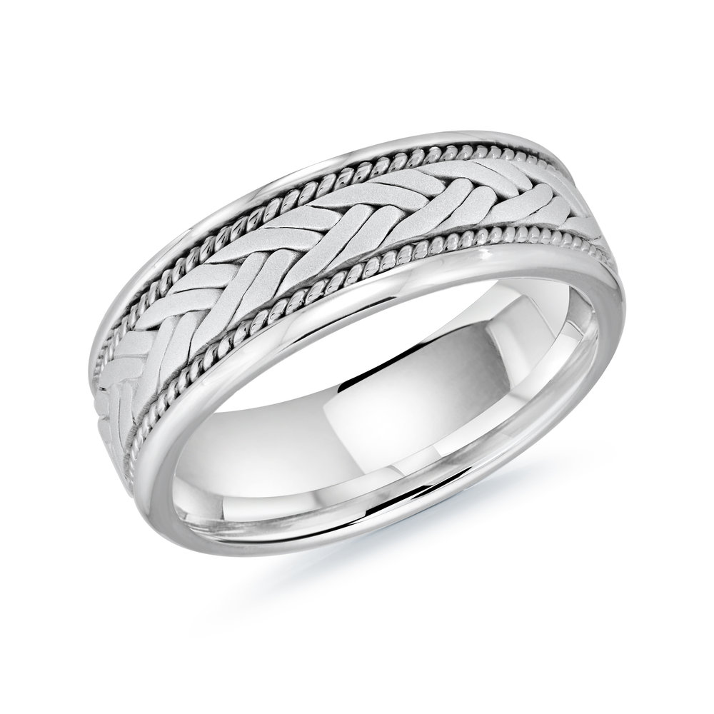 White Gold Men's Ring Size 8mm (MRD-064-8W)