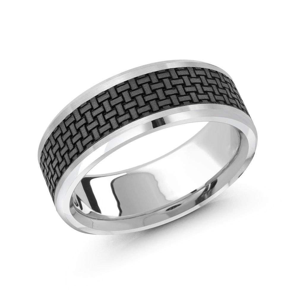 White Gold Men's Ring Size 8mm (MRDA-043-8W)