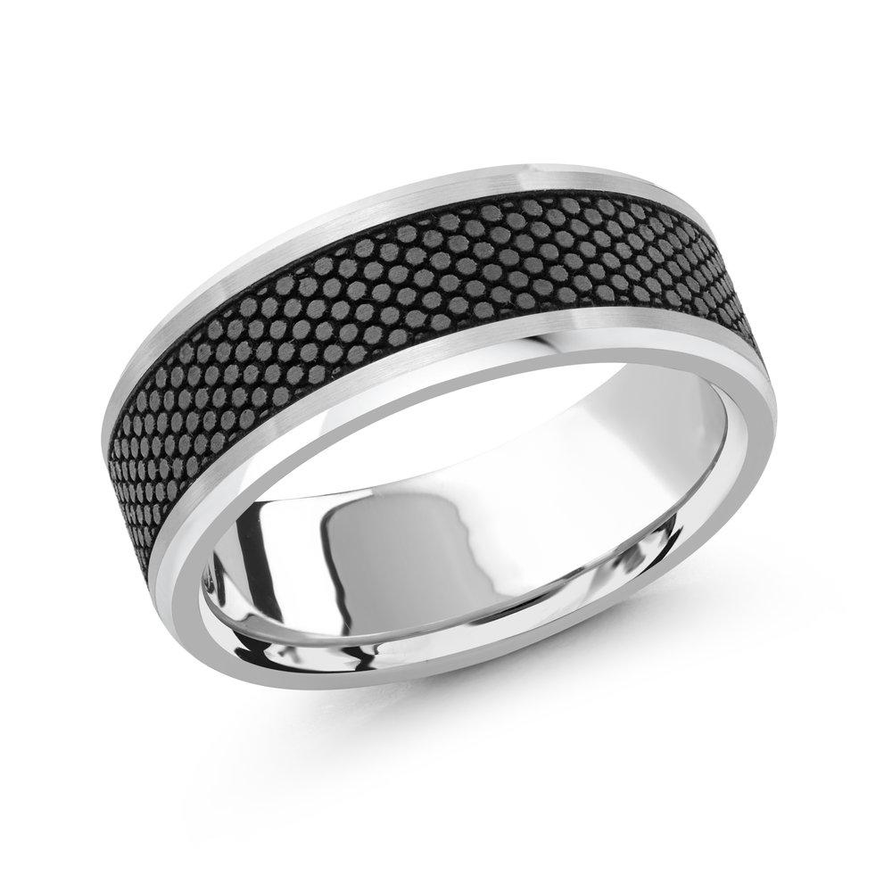 White Gold Men's Ring Size 8mm (MRDA-044-8W)