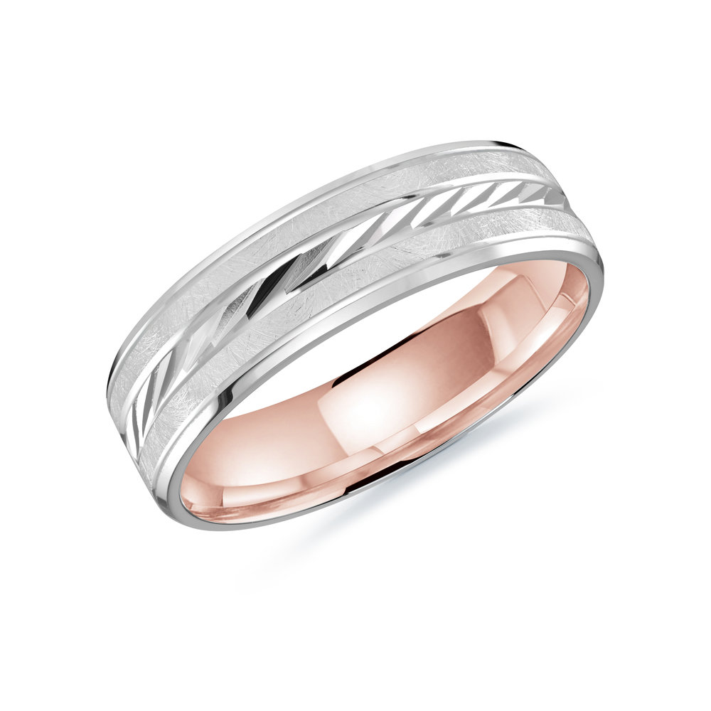 White/Pink Gold Men's Ring Size 6mm (LUX-206-6WZP)