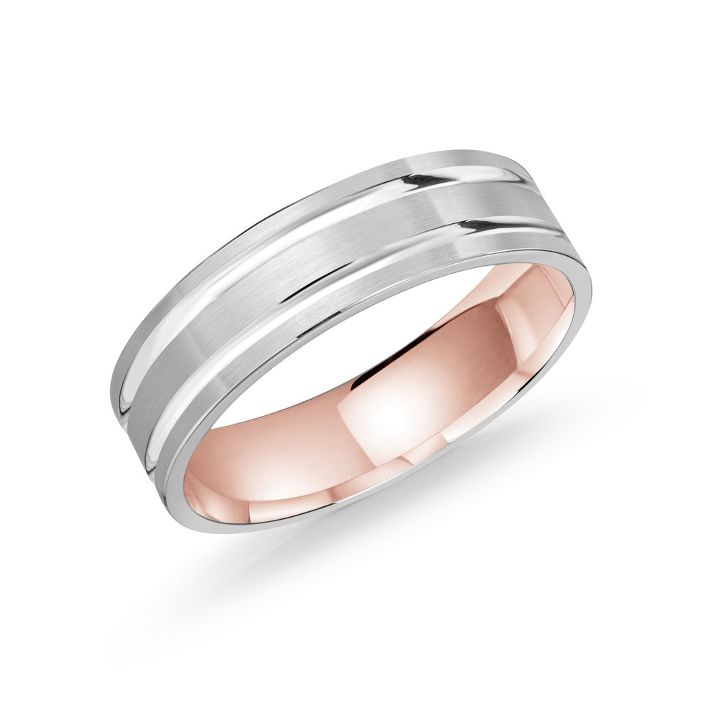 White/Pink Gold Men's Ring Size 6mm (LUX-986-6WZP)