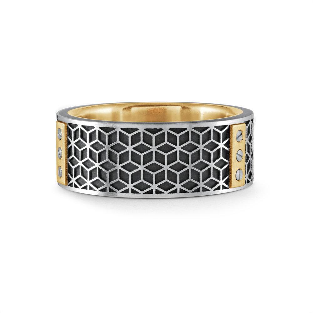 Yellow Gold Men's Ring Size 8mm (MRDA-068)