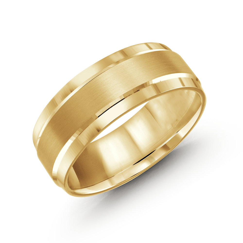 Yellow Gold Men's Ring Size 8mm (LUX-418-8Y)