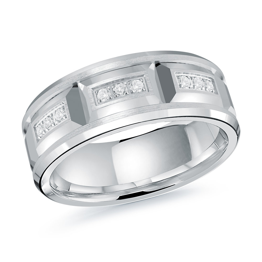 White Gold Men's Ring Size 8mm (JMD-1417-8W)